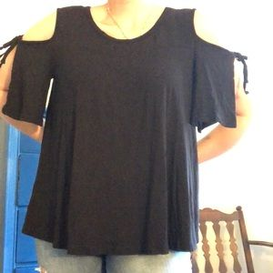 pebble and stone Tops - Cold Shoulder Baby Doll Blouse
